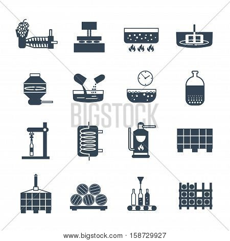 set of black icons manufacture of wine production process