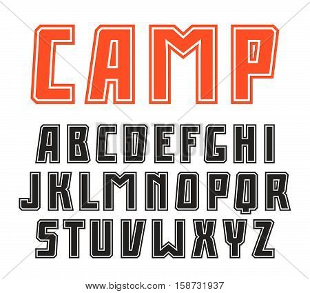 Sanserif font in sport style with contour. Black font on white background