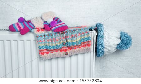 Heating radiator with warm clothes indoor