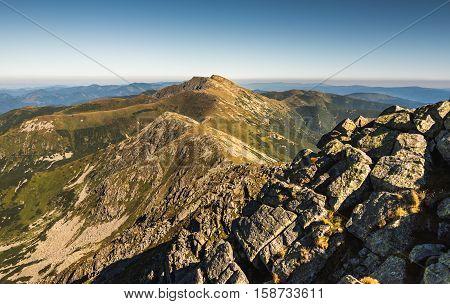 Low Tatras National Park Mountain Ridge in Slovakia. Way to Monunt Dumbier.