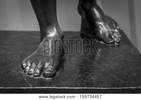Stone foot of ancient Roman statue