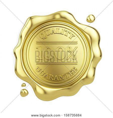 100% quality guarantee golden wax seal isolated on white background. 3d illustration
