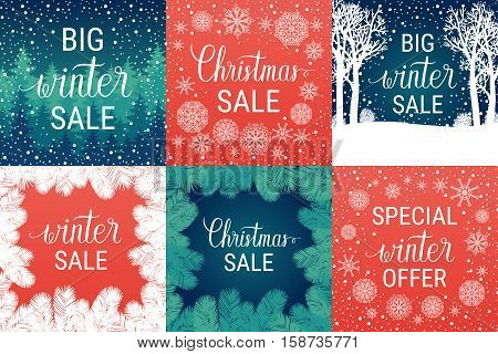 Big winter sale Christmas sale special winter offer posters set. Vector winter holiday backgrounds with hand lettering calligraphic christmas tree branches snowflakes falling snow.