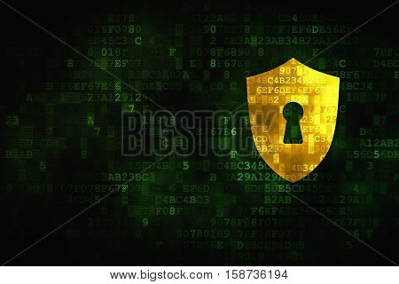 Safety concept: pixelated Shield With Keyhole icon on digital background, empty copyspace for card, text, advertising