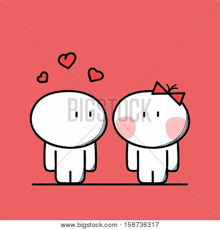 Cute man is in love with woman with hearts above the head on the red background. Meet and sympathy - cartoon vector illustration.
