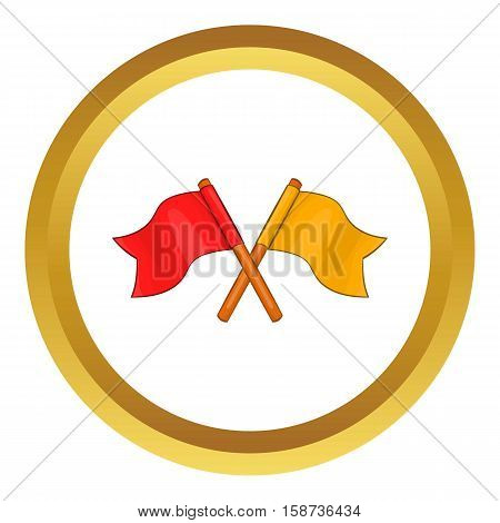Two crossed flags vector icon in golden circle, cartoon style isolated on white background