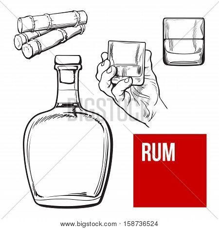 Jamaican rum bellied bottle, hand holding shot glass and sugar cane, sketch vector illustration isolated on background. black and white hand drawing of unlabeled rum bottle, shot glass and sugarcane
