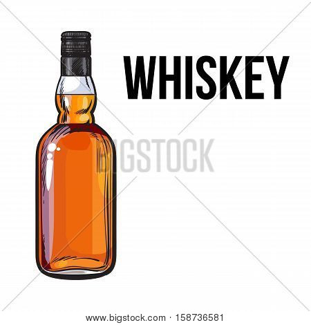 Unopened, unlabeled full whiskey bottle, sketch style vector illustration isolated on white background. Realistic hand drawing of an unlabeled, unopened whiskey, rum, brandy bottle