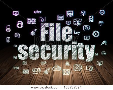 Security concept: Glowing text File Security,  Hand Drawn Security Icons in grunge dark room with Wooden Floor, black background
