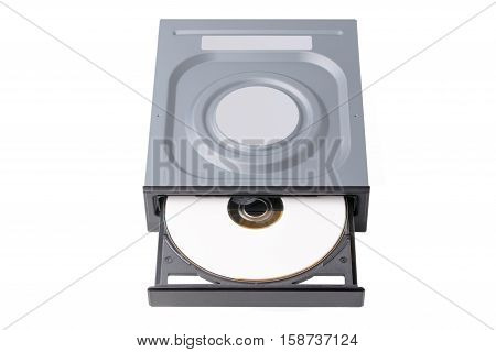 opened drive CD - DVD - Blu Ray with a black cap and white disk on a white background CD-ROM DVD-ROM BD-ROM