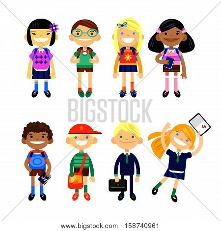 Set of characters elementary schoolchild, school students on a white background. Schoolboys and schoolgirls of different nationalities. Vector illustration of a flat design