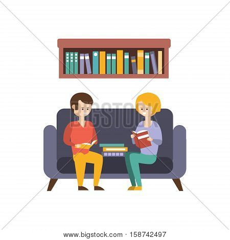 Library Or Bookstore With People Reading Books On The Sofa. Flat Primitive Vector Illustration With Colorful Human Characters In Bookshop Interiors.