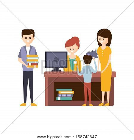 Library Or Bookstore With People Using Help Of Librarian To Choose The Books. Flat Primitive Vector Illustration With Colorful Human Characters In Bookshop Interiors.