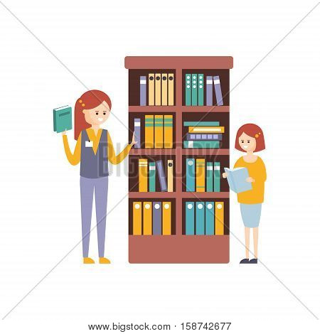 Library Or Bookstore With With Two Girls Choosing Books On Bookshelf. Flat Primitive Vector Illustration With Colorful Human Characters In Bookshop Interiors.
