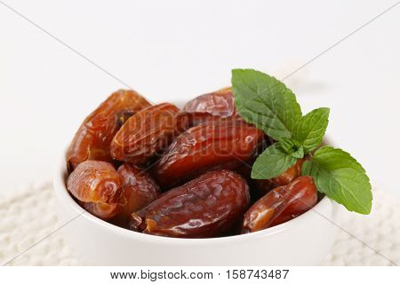 bowl of dried dates - close up