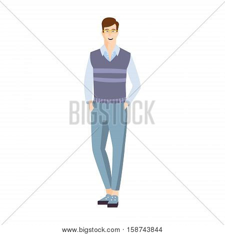 Man In Shortened Trousers With Hands In Pockets Part Of The Collection Of Young Professional People Office Style And Street Fashion Looks. Smiling Confident Person In Trendy Modern Clothing Flat Vector Illustration.
