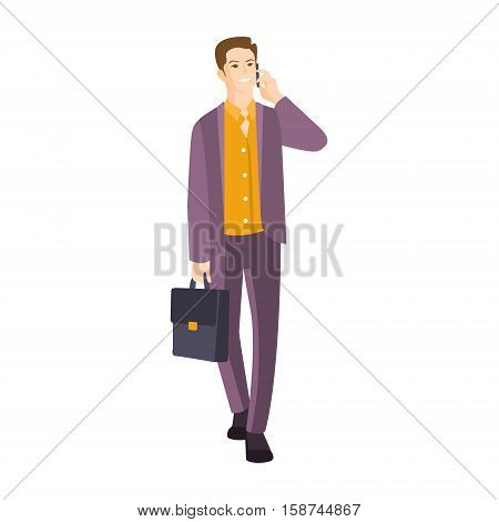 Man In Suit With Suitcase Speaking On The Phone Part Of The Collection Of Young Professional People Office Style And Street Fashion Looks. Smiling Confident Person In Trendy Modern Clothing Flat Vector Illustration.