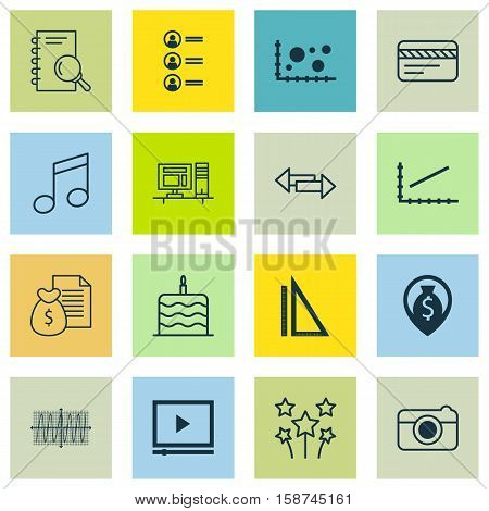 Set Of 16 Universal Editable Icons. Can Be Used For Web, Mobile And App Design. Includes Icons Such As Measurement, Crotchets, Report And More.