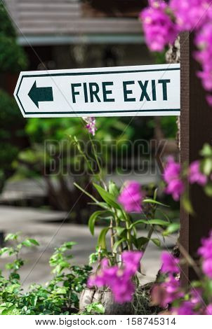 Emergency fire exit sign on a wooden label.