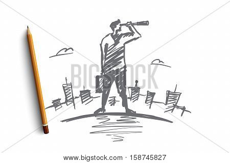 Vector hand drawn searching concept sketch with pencil over it. Businessman with case standing and looking aside through spyglass