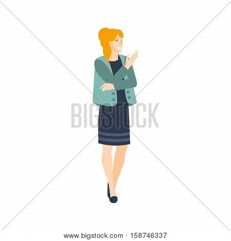 Woman In Dress And Jacket Part Of The Collection Of Young Professional People Office Style And Street Fashion Looks. Smiling Confident Person In Trendy Modern Clothing Flat Vector Illustration.