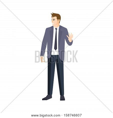 MAn In Grey JAcket And Black Tie Part Of The Collection Of Young Professional People Office Style And Street Fashion Looks. Smiling Confident Person In Trendy Modern Clothing Flat Vector Illustration.