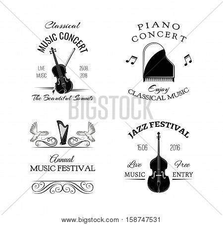 Music vintage retro label and badge. Guitar, Piano. Jazz festival. Double bass. Vector Illustration