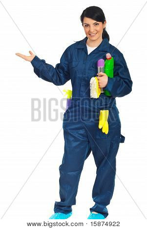 Cleaning Worker Welcome Hand Gesture