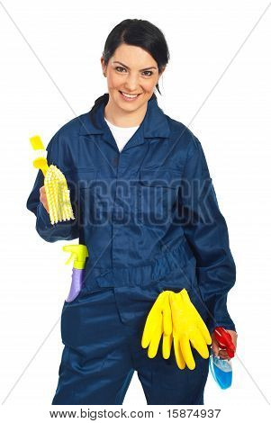 Worker Prepared For Cleaning Houses