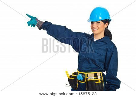 Cheerful Constructor Worker Pointing