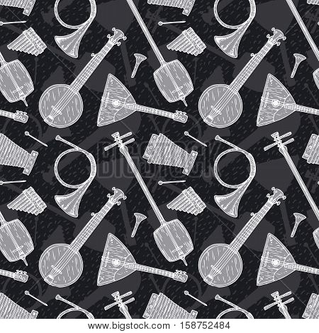 Black and White Seamless Vector with Folk Musical Instruments