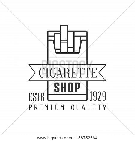 Cigarette Shop Premium Quality Smoking Club Monochrome Stamp For A Place To Smoke Vector Design Template. Black And White Illustration With Smoking Related Objects Silhouettes With Text.
