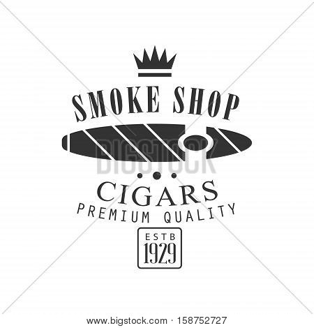 Cigar Smoke Shop Premium Quality Smoking Club Monochrome Stamp For A Place To Smoke Vector Design Template. Black And White Illustration With Smoking Related Objects Silhouettes With Text.