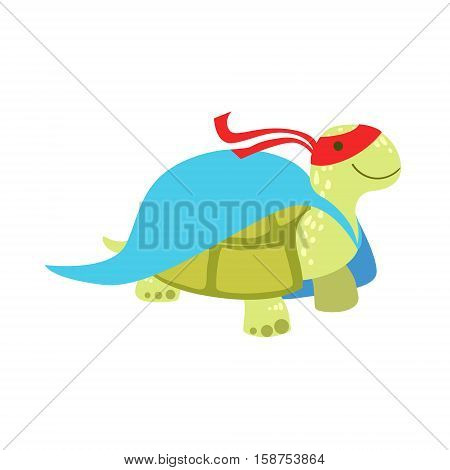 Land Turtle Animal Dressed As Superhero With A Cape Comic Masked Vigilante Character. Part Of Fauna With Super Powers Flat Cartoon Vector Collection Of Illustrations.
