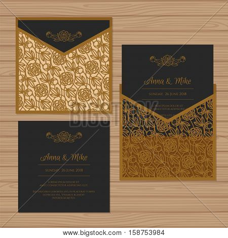 Wedding Invitation Or Greeting Card With Flower Ornament. Cut Laser Square Envelope Template. Weddin