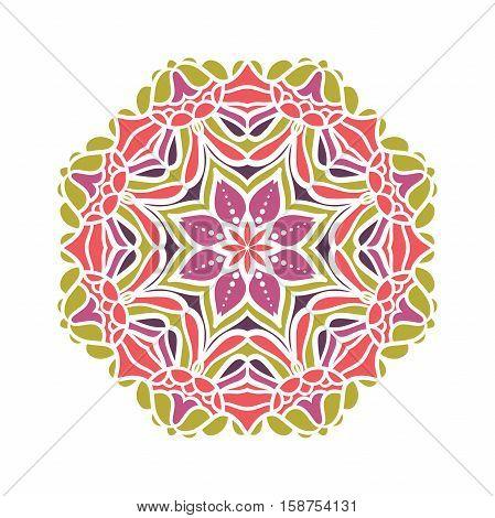 Circular background. Oriental pattern illustration. Flower circular background. A stylized mandala. Beautiful ethnic, oriental background. Stylized lace ornament. Kaleidoscope big bud. Vintage
