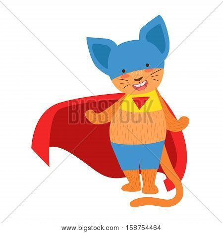 Cat Animal Dressed As Superhero With A Cape Comic Masked Vigilante Character. Part Of Fauna With Super Powers Flat Cartoon Vector Collection Of Illustrations.