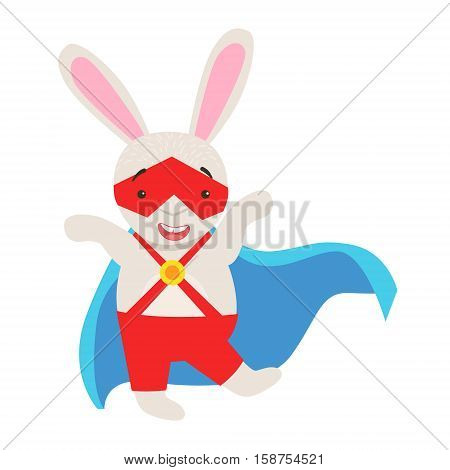 White Bunny Animal Dressed As Superhero With A Cape Comic Masked Vigilante Character. Part Of Fauna With Super Powers Flat Cartoon Vector Collection Of Illustrations.