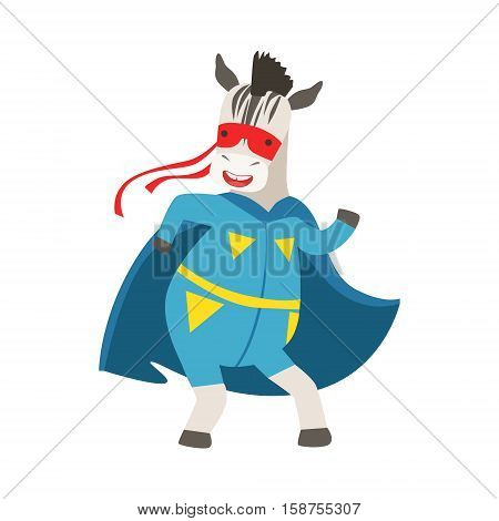 Zebra Animal Dressed As Superhero With A Cape Comic Masked Vigilante Character. Part Of Fauna With Super Powers Flat Cartoon Vector Collection Of Illustrations.