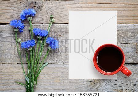 Blue cornflowers blank paper and coffee cup top view