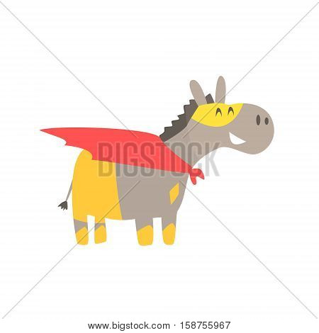 Donkey Smiling Animal Dressed As Superhero With A Cape Comic Masked Vigilante Geometric Character. Part Of Fauna With Super Powers Flat Cartoon Vector Collection Of Illustrations.