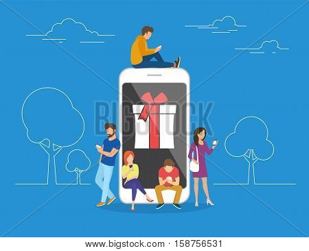 Christmas gifts and presents concept illustration of young people using mobile smartphone for searching gifts and purchasing. Flat men and women standing near big smartphone with gift box on screen