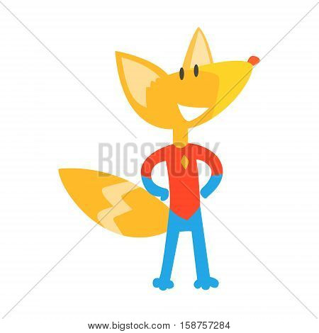 Red Fox Animal Dressed As Superhero With A Cape Comic Masked Vigilante Geometric Character. Part Of Fauna With Super Powers Flat Cartoon Vector Collection Of Illustrations.