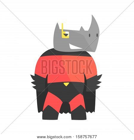 Rhinoceros Smiling Animal Dressed As Superhero With A Cape Comic Masked Vigilante Geometric Character. Part Of Fauna With Super Powers Flat Cartoon Vector Collection Of Illustrations.