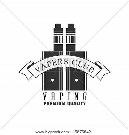 Vaping Premium Quality Vapers Club Monochrome Stamp For A Place To Smoke Vector Design Template. Black And White Illustration With Smoking Related Objects Silhouettes With Text.
