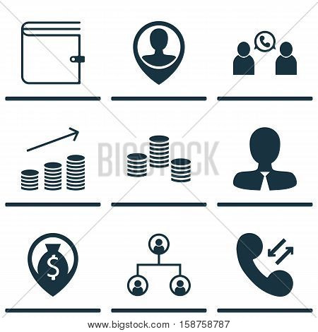 Set Of Management Icons On Cellular Data, Coins Growth And Manager Topics. Editable Vector Illustration. Includes Cellular, Wallet, Employee And More Vector Icons.