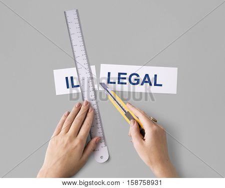 Illegal Hands Cut Word Split Concept
