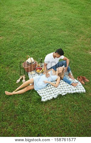Romantic multicultural couple on picnic in park