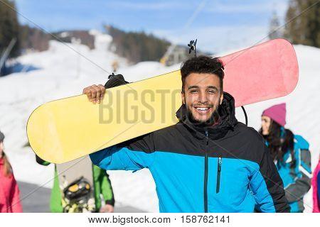 Hispanic Man Tourist Snowboard Ski Resort Snow Winter Mountain Happy Smiling Guy On Holiday Extreme Sport Vacation