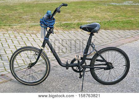 Closeup of a pony bike on a bicycle path